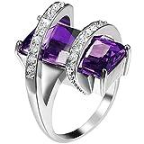Womens Platinum Plated Square Cut Solitaire Purple Amethyst CZ Unique Design Promise Ring Wedding Band 8