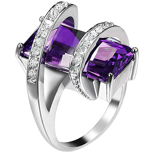 Womens Platinum Plated Square Cut Solitaire Purple Amethyst CZ Unique Design Promise Ring Wedding Band 8