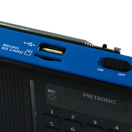 Bleu et Noir Metronic 477210 Radio Portable Podcast MP3 Port USB SD avec Enregistreur