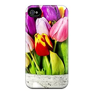 Defender Case With Nice Appearance (tulips With Different Colors) For Iphone 4/4s