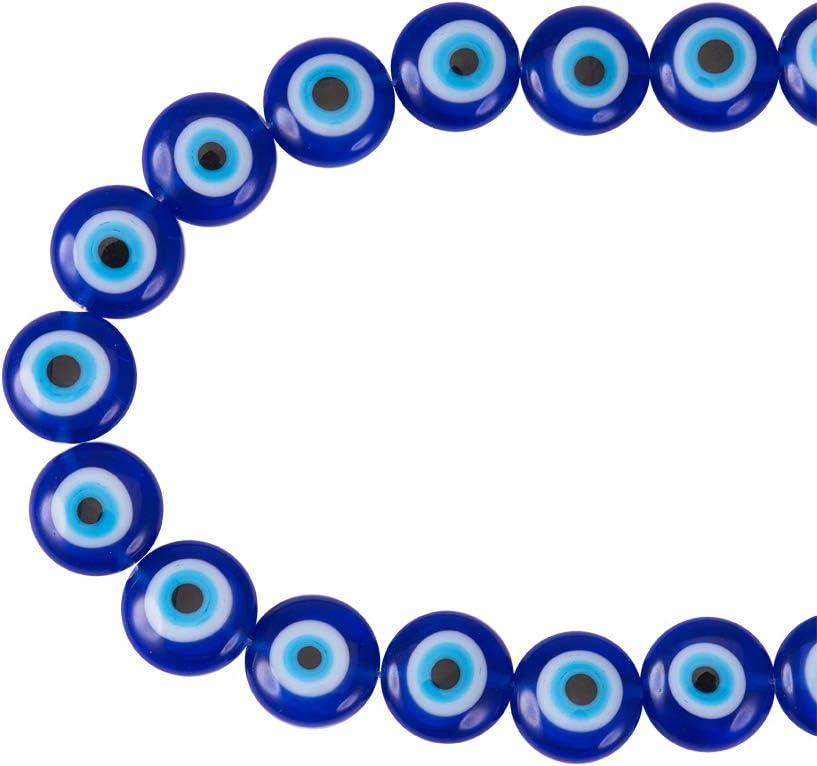 NBEADS 1 filamento (Alrededor de 38 Piezas) Azul Plano Redondo Mal de Ojo Hecho a Mano Lámpara de Cristal Cuentas Espaciador Cuentas para Pulseras Collar bisutería
