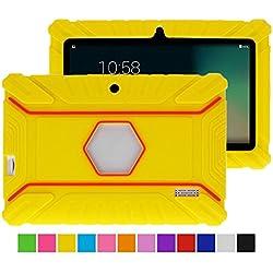 Turpro Kids' Shockproof Silicone Case for Chromo Inc 7 inch, Alldaymall A88X, Dragon Touch Y88X Plus/Y88X, VURU A33, NPOLE 7 Inch Tablet (Yellow)