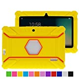 Turpro Kids' Shockproof Silicone Case for Chromo Inc 7 inch, Alldaymall A88X, Dragon Touch Y88X Plus/Y88X, VURU A33, NPOLE 7 Inch Tablet (Yellow)