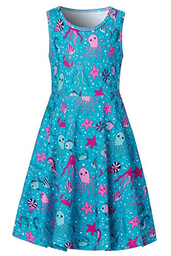 Uideazone Little Girls Sea World Dress for 8t 9t 3D Printed Solid Twirl One-Piece Dress for School Student Children Casual Home Holiday Beach Wedding Party Basic Style -
