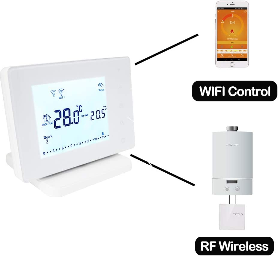 Beok Upgrade BOT306RF-WIFI Wireless Programable RF Room Thermostat with Large LCD Touchscreen Display for Gas Boiler Works with Google Assistant /&  Alexa Powered by AC 200-240V