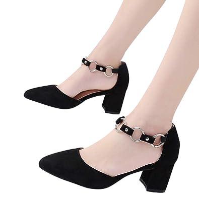 5d48846c578b4a Sonnena Chaussures Escarpins Femmes Sexy Talon Cheville Boucle de Single  Bottes de Talon Haut Bout Pointu