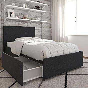 Amazon Com Dhp Dakota Upholstered Platform Bed With
