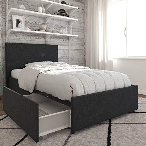 Novogratz 4296419N Kelly Bed with Storage Twin Dark Gray Linen
