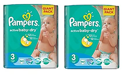 PAMPERS Pañales Baby Dry Midi 3 Talla 4 – 9 kg (90 hasta 540 Pañales