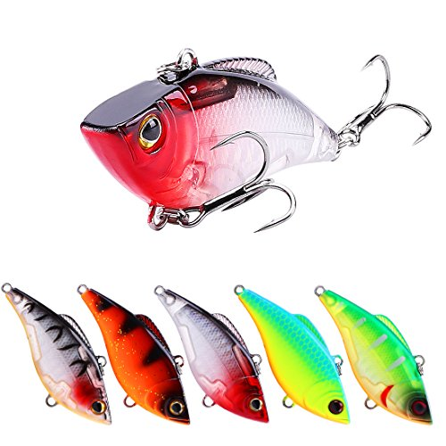 g Lures Sinking VIB Hard Baits With High-Strength Hook Artificial Hard Bait Wobblers Fishing Sinking Lures Bait (SK010-5pcs) ()