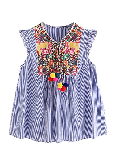 Floerns Women's Sleeveless Ruffle Striped Embroidered Pom Pom Tie Neck Blouse Blue L