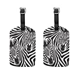 LORVIES Zebra Couple Luggage Tags Travel Labels Tag Name Card Holder for Baggage Suitcase Bag Backpacks, 2 PCS