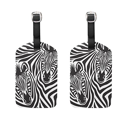 LORVIES Zebra Couple Luggage Tags Travel Labels Tag Name Card Holder for Baggage Suitcase Bag Backpacks, 2 PCS by LORVIES