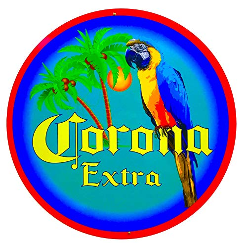 Parrot Palm Tree - Corona Sign - Parrot and Palm Tree Design - 14 inch Diameter