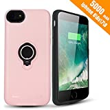 iPhone 7 Battery Case - Hathcack 5000mAh Portable Battery Charging Case for iPhone 8/7/6/6s Extended Battery Juice Pack/Lightning Cable Input Mode Support Magnetic Car Holder (Pink)