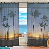 Cheap INGBAGS Bedroom Decor Living Room Decorations Hawaii Guam Beach Pattern Print Tulle Polyester Door Window Gauze / Sheer Curtain Drape Two Panels Set 55×78 inch Y95