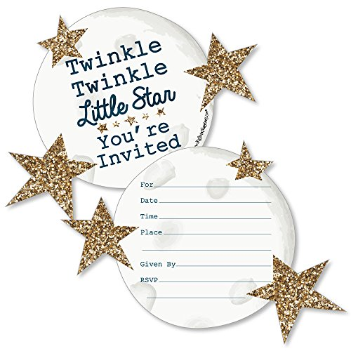 Twinkle Twinkle Little Star - Shaped Fill-in Invitations - Baby Shower or Birthday Party Invitation Cards with Envelopes - Set of 12 -