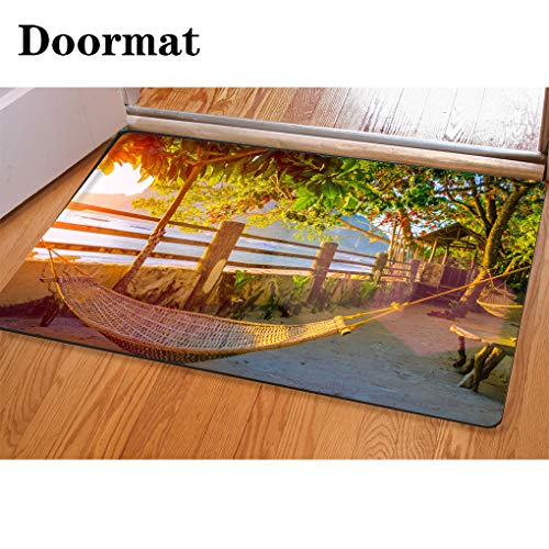 (HooMore 3D Printing and Dyeing,Bathroom Carpet, Door mat,Hammock on corong Beach on Sunset Tropical Holidays in El Nido Palawan Philippines Flannel Foam Shower mat, Absorbent Kitchen Door Carpet )