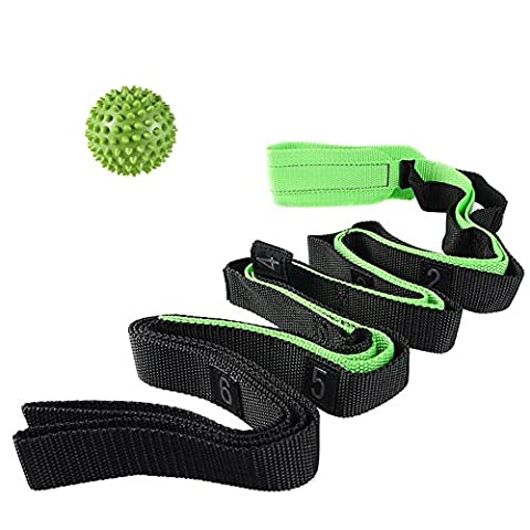 Aiyuda Stretching Strap with Massage Ball Multi-loop Stretch Out Bands Belt for Yoga Physical Therapy Pilates Flexibility Exercise Dance Gymnastics (Green, 7'5.37
