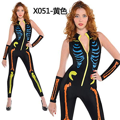 wadermoon Halloween Costumes Horror Skeletal Jumpsuits Party Costumes Cosplay Costumes -