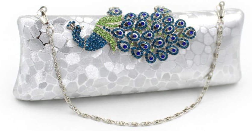 WXMDDN Hand Banquet Bag//Shoulder Diagonal Bag//Sequined Peacock Bag//Suitable for Party,Dance,Bride Wedding,Party,2485cm,Silver