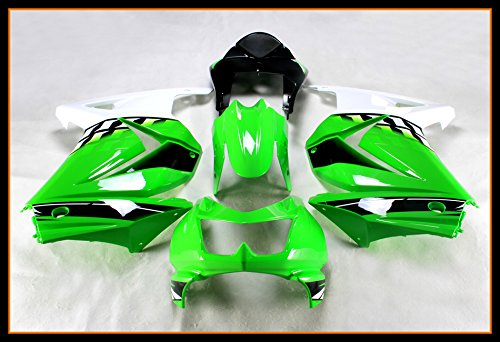 Protek Painted ABS Plastic Injection Mold Full Fairings Set Bodywork Cowl for 2008 2009 2010 2011 2012 Kawasaki Ninja 250R EX250J EX250 Green (2010 Green)