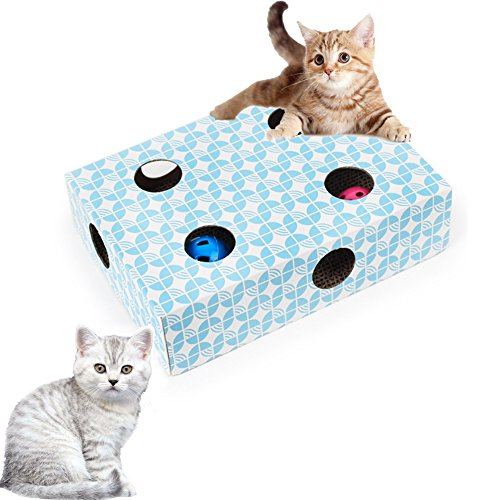 Bartonisen Interactive Cat Toy Puzzle Box Feeder Treat Maze Scratcher Cat - Box Cat Toy