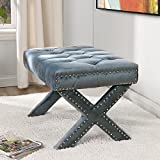 Cheap Inspired Home Louis Velvet Button Tufted Silver Nail Head Trim X-Leg Ottoman, Slate Blue