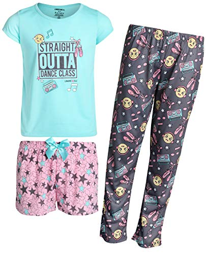 Shirt Limited Top Too - Limited Too Girls' 3-Piece Pajama Set with Tee, Matching Shorts, and Long Pants, Dance Class/Aqua, Size 14/16'