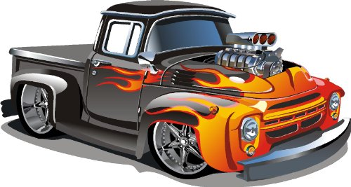 Epic Designs Hot rod kids removable/repositional wall vinyl sticker PEEL and STICK art ()