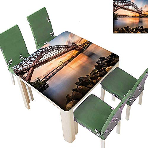 Printsonne Fitted Polyester Tablecloth Sunset Evening View Picture of Hell Gate and Triboro Bridge Astoria Queens New Washable for Tablecloth 52 x 52 Inch (Elastic Edge)