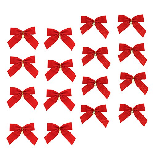 Set of 16 Red Velvet Christmas Bows with Mini Jingle Bells, Plain and with Glitter Assortment