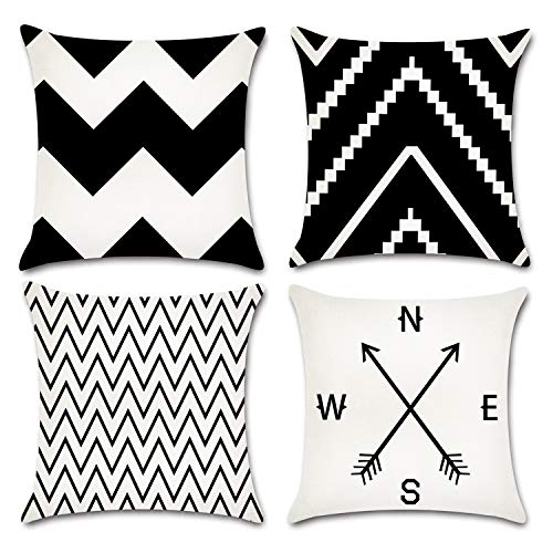 JOJUSIS Black and White Wave Throw Pillow Covers Cotton Linen Home Decor 18 x 18 inch Set of 4