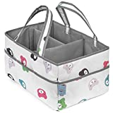 Baby Diaper Caddy Organizer | Nursery Storage Bin and Car Organizer for Diapers, Toys, Wipes, Bath time Items, Baby Essentials | Great for Baby Shower Gift | 15in. x 10in. x 8in.