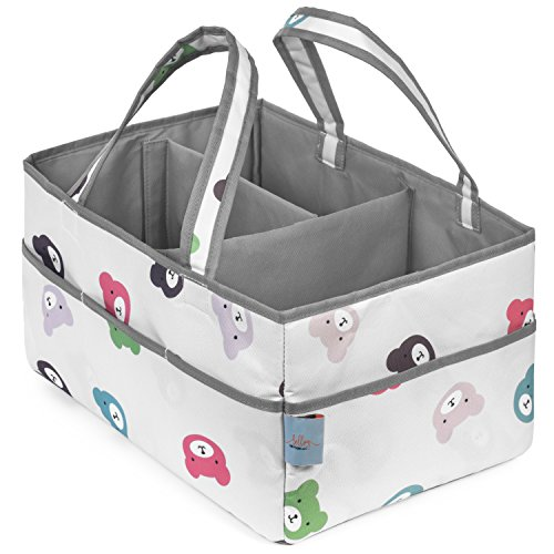 Baby Diaper Caddy Organizer | Nursery Storage Bin and Car Organizer for Diapers, Toys, Wipes, Bath time Items, Baby Essentials | Great for Baby Shower Gift | 15in. x 10in. x 8in. by Bellvy Creations