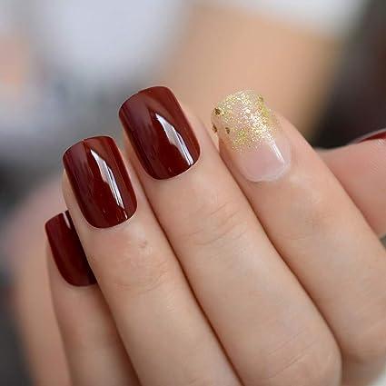 EchiQ - Uñas postizas de color granate con purpurina dorada, uñas ...