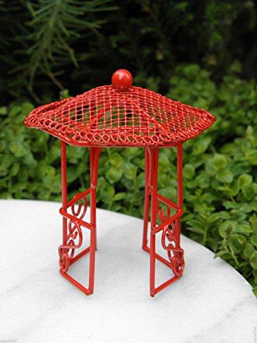 Fairy Garden Figurine Miniature Dollhouse FAIRY GARDEN Furniture ~ Micro Mini Bright Red Gazebo Trimiurti online-store