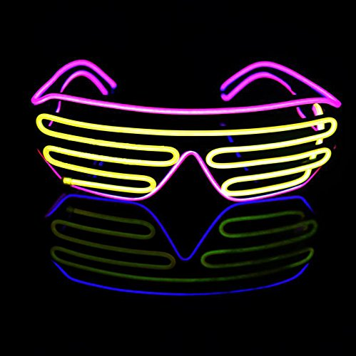 [Aquat Voice Activated Light-up Illuminated Neon Electroluminescent El Wire LED Glasses Light Costumes Glasses (Pink/Yellow, Black] (Group Office Costumes)