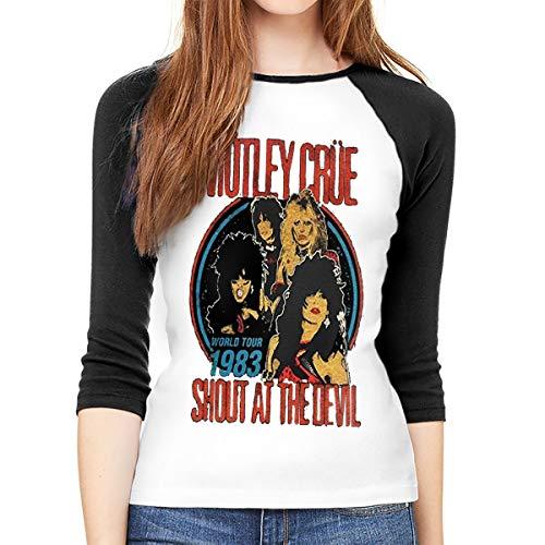 Long Sleeve T-Shirt Women, Motley Crue Vintage Shout at The Devil Round Neck T Shirt Baseball Tunic Tops Blouse Black