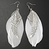 Women Earrings Liraly Angel Metal Wing Bohemian Handmade Vintage Feather Long Drop Earrings (White)