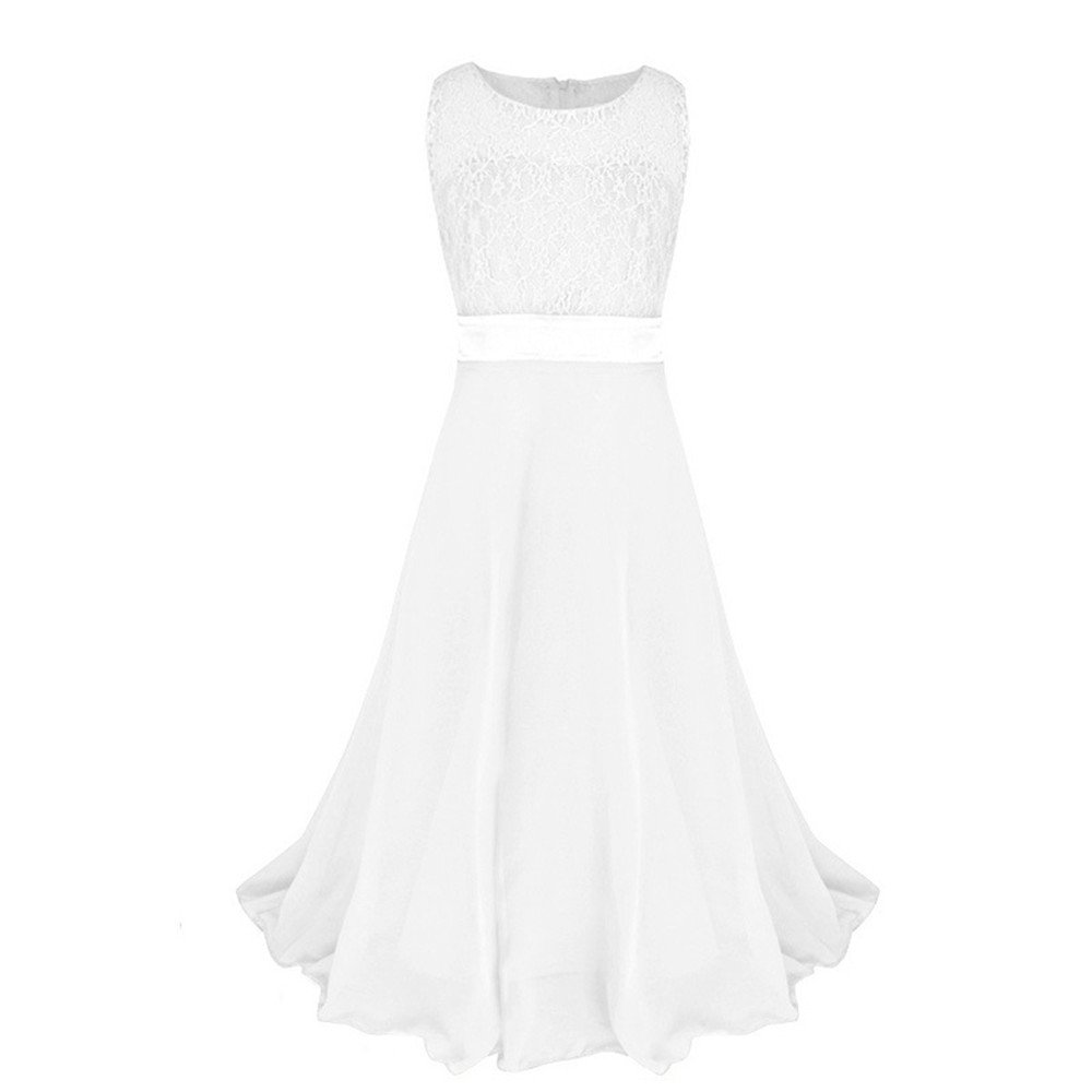 Star Flower Kids Lace Chiffon Maxi Dresses Long Prom Party Homecoming Bridesmaid Wedding Gowns for Big Girls Size 14-16 (14, White)