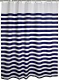 Fabric Standard Shower Curtain Liner Set with Hooks/Rings- 72 x 72 inches, Blue White Nautical Stripes