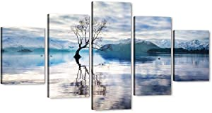 5 Piece Snow Mountain Landscape Wall Art Glacier Lake in New Zealand Rocky Mountains Abstract Graceful Tree HD Oil Painting Artwork Hanging Poster with Wood Frames Home Living Room Decor-60''Wx32''H