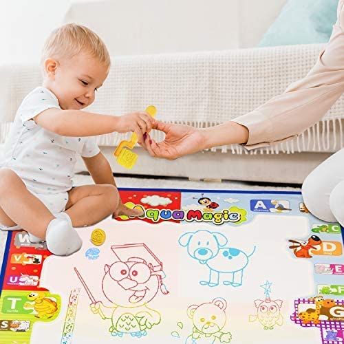 Ayeboovi Water Doodle Mat Aqua Drawing Mat Toys for 3 4 5 Year Old Girls Mess Free Toddler Painting Board Birthday Gift