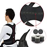 Magnetic Therapy Posture Support Back Brace with BONUS self heating neck brace included - Adjustable Posture Corrector Brace Shoulder Back Support Belt- Relieves Neck, Back and Spine Pain (Medium)