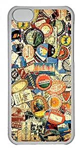Hard Platic Transparent PC Case Cover for iPhone 5C,Retro Things Pattern Case for iPhone 5C