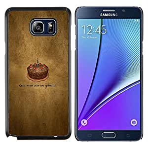 KLONGSHOP // Cubierta de piel con cierre a presión Shell trasero duro de goma Protección Caso - Cake Chotolate Cumpleaños - Samsung Galaxy Note 5 5th N9200 //