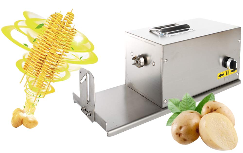 CGOLDENWALL Electric Tornado Potato Slicer Spiral Potato Cutter Twisted Potato Slicer Spiral Twister Cutter Thicker Stainless Steel Vegetables Cutting Machine with Handle by CGOLDENWALL