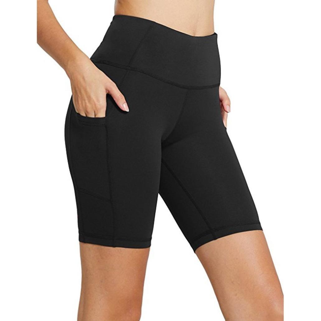 Ningsun Donne Esercizio fisico Tasca Ghette Sport da fitness Palestra In esecuzione Yoga Pantaloni sportivi/Colore puro Pantaloni da yoga da 5 punti Ghette