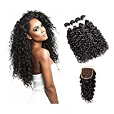 Suerkeep 8A Brazilian Virgin Water Wave 4 Bundles With Free Part Lace Closure Unprocessed Remy Weave Human Hair Weft(20 22 24 24+18, #1b)